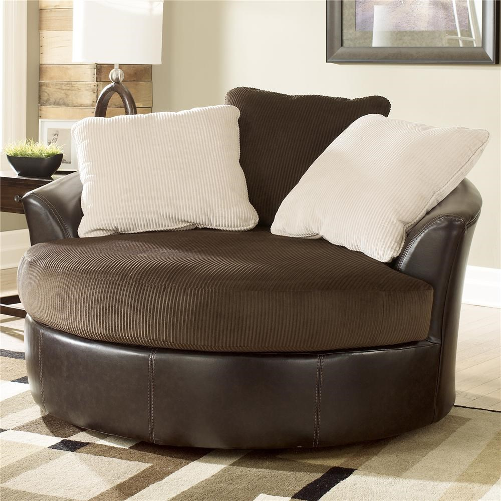 Oversized round swivel chair miskelly furniture upholstered chair