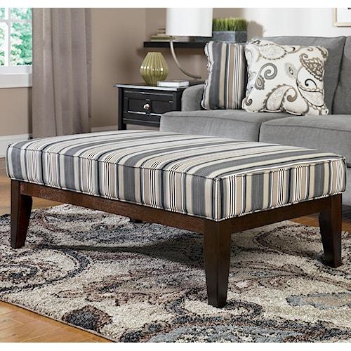 Ashley Furniture Yvette - Steel High Leg Cocktail Ottoman w/ Wood Legs