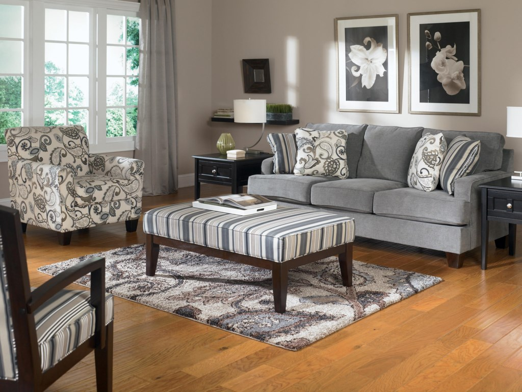Shown in Room Setting with Cocktail Ottoman, Sofa and Showood Accent Chair