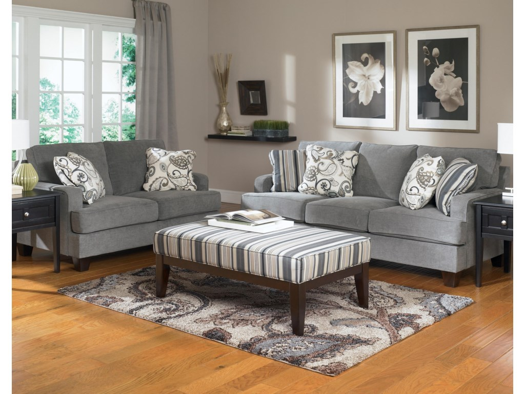 Shown in Room Setting with Sofa and Cocktail Ottoman