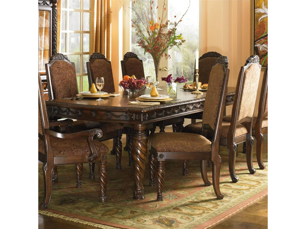 Dining Arm Chair shown with Rectangular Extension Table and Armless Side Dining Chairs.