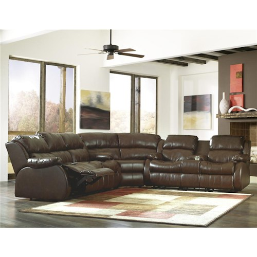 Millennium Mollifield DuraBlend® - Café Motion Sectional with 4 Recliners, Built-in Storage, & Massage