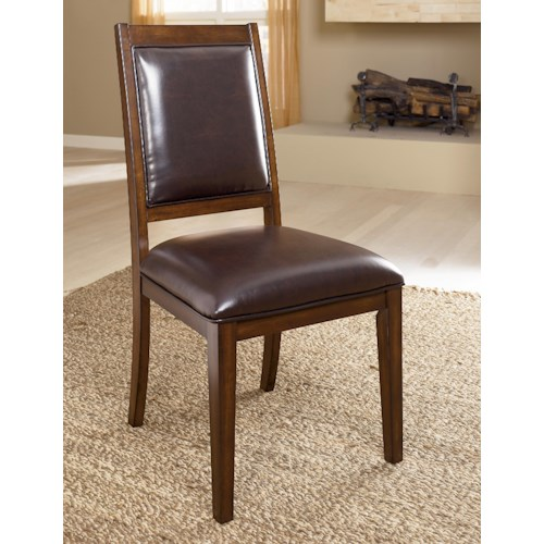 Millennium Holloway Dining Upholstered Side Chair with Brown Faux Leather
