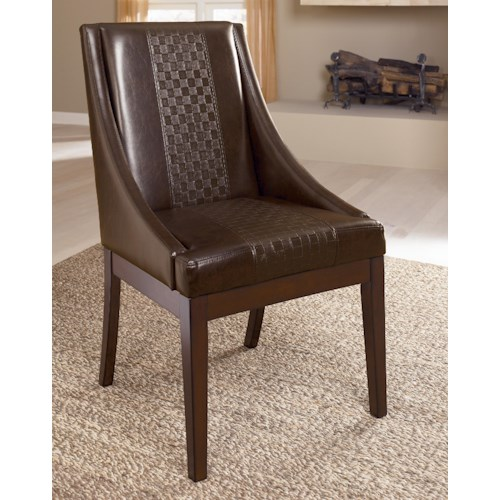 Millennium Holloway Dining Upholstered Arm Chair with Brown Faux Leather & Swoop Arms