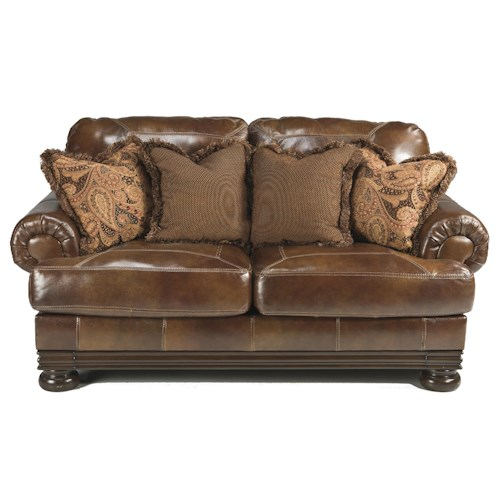 Signature Design by Ashley Hutcherson Traditional Loveseat with Exposed Wood and Bun Feet
