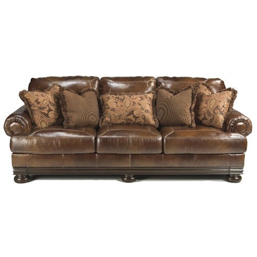 Signature Design by Ashley Hutcherson Traditional Sofa with Rolled Arms and Exposed Wood