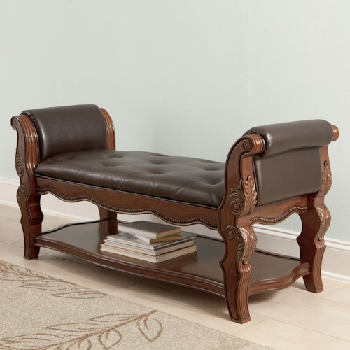 Millennium Ledelle Upholstered Bench with Tufted Faux Leather Seat