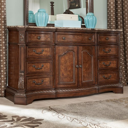 Millennium Ledelle Serpentine Shape Dresser with Natural Marble Parquetry Top