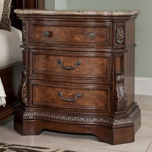 Millennium Ledelle Three Drawer Night Stand with Natural Marble Parquetry Top