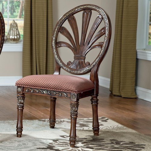 Millennium Ledelle Traditional Dining Upholstered Side Chair with Pierced Back