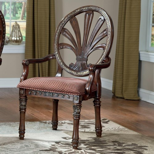 Millennium Ledelle Traditional Dining Upholstered Arm Chair with Pierced Back