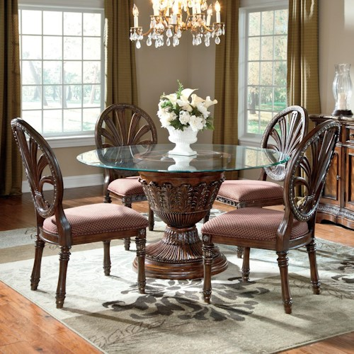 Millennium Ledelle 5-Piece Glass Top Table Set with Pierced Oval Back Chairs