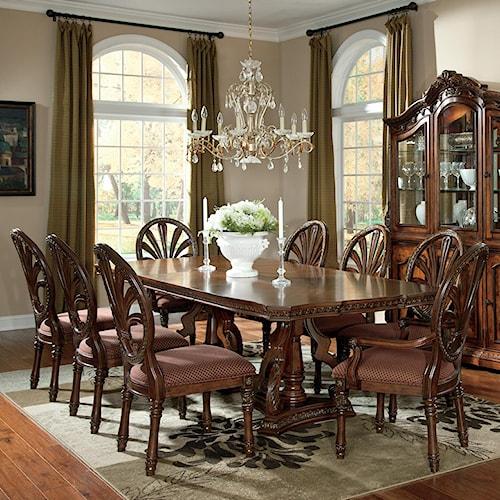 Millennium Ledelle 9-Piece Rectangular Table Set with Pierced Back Chairs