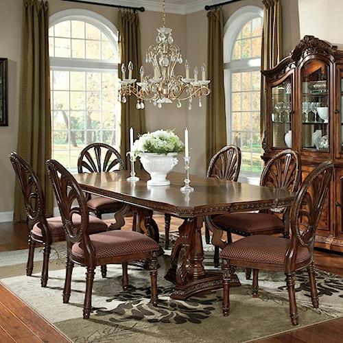 Millennium Ledelle 7-Piece Rectangular Table Set with Pierced Back Side Chairs