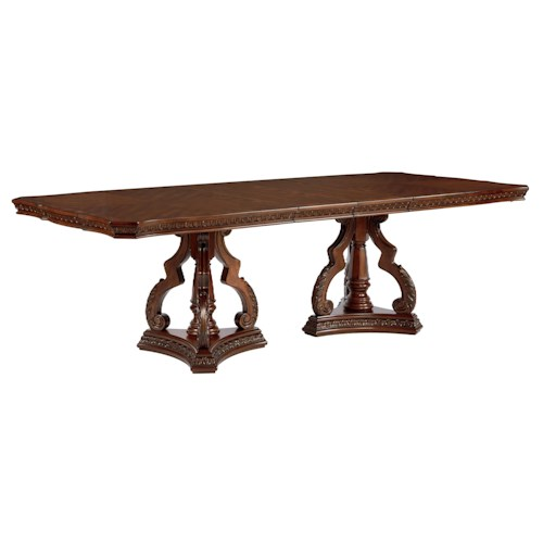 Millennium Ledelle Traditional Dining Table with Double Pedestal Base