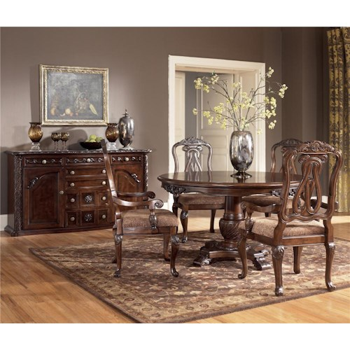 Millennium North Shore 5 Piece Single Pedestal Table & Arm Chair Set