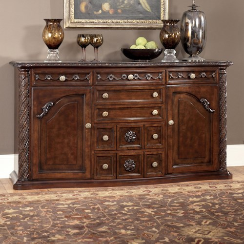 Millennium North Shore Traditional Server with Ornate Carved Details