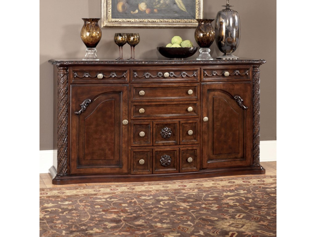 millennium north shore traditional server with ornate carved ashley north shore living room set - North Shore Living Room Set