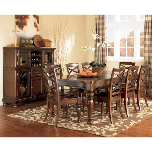 Ashley Furniture Porter 9 Piece Rectangular Extension Table & Side Chair Set