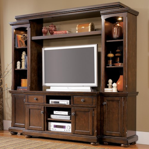 Ashley Furniture Porter House Entertainment Wall Unit with TV Stand, Piers, Bridge, and Shelf