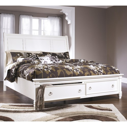 Millennium Prentice California King Sleigh Bed with Storage Footboard