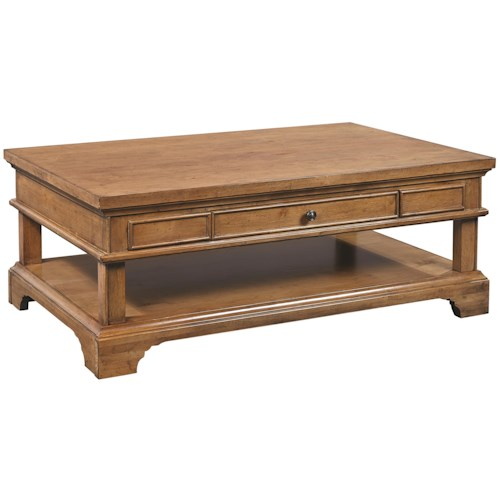 Aspenhome Alder Creek Large One Drawer Cocktail Table with Casters