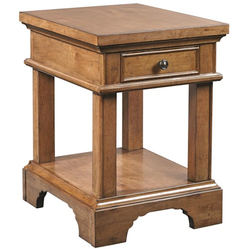 Aspenhome Alder Creek One Drawer Chairside Table with AC Outlets