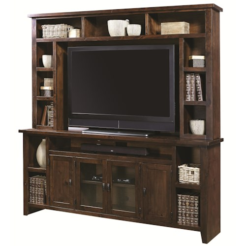 Morris Home Furnishings Alder Grove Entertainment Wall Unit with 4 Doors and Hutch Shelving