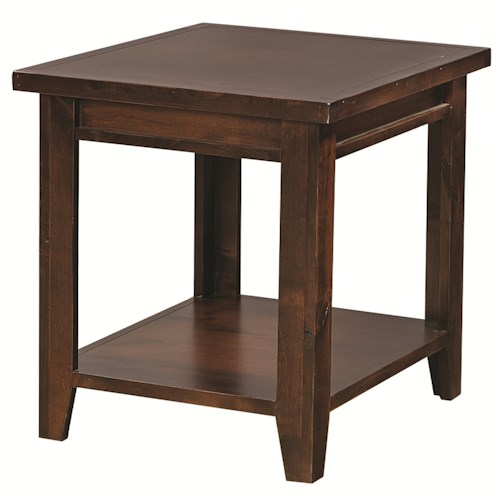 Aspenhome Alder Grove Rectangular End Table with Shelf