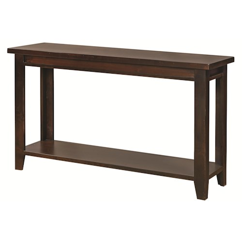 Morris Home Furnishings Alder Grove Sofa Table with Tapered Legs and Shelf