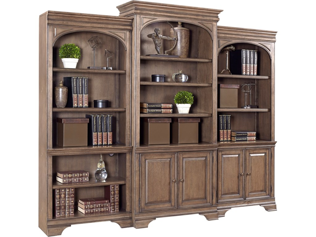 Aspenhome Arcadia 84quot Bookcase Wall Console with LED Touch