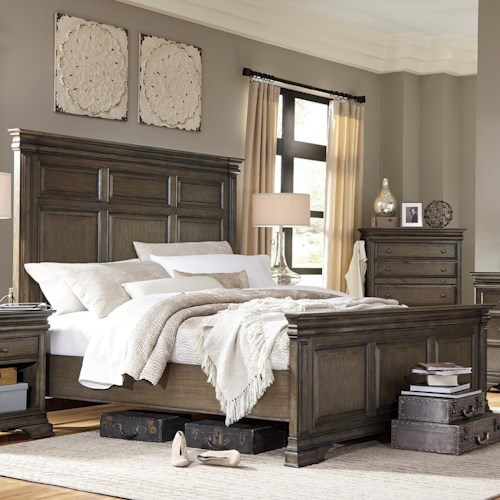 Morris Home Furnishings Arcadia California King Panel Bed with USB Charging Stations