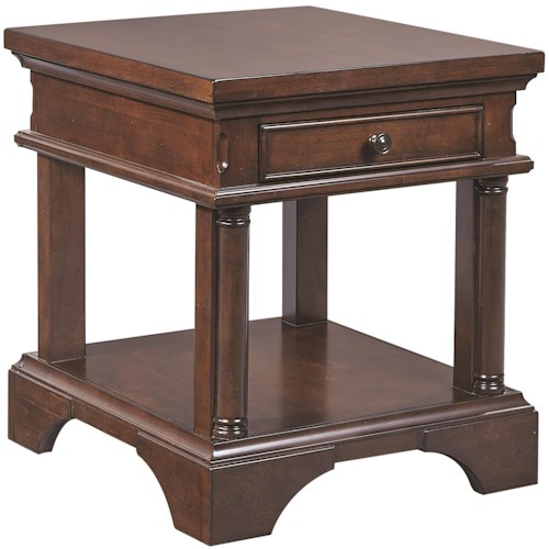 Aspenhome Bancroft One Drawer End Table with AC Outlets
