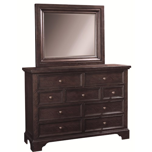 Aspenhome Bayfield 9-Drawer Dressing Chest & Mirror Set