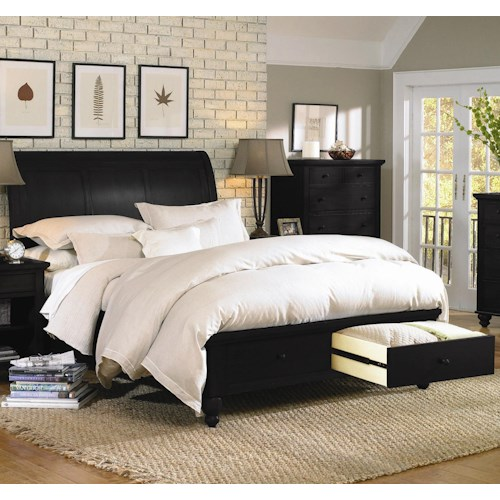 Aspenhome Cambridge California King-Size Bed with Sleigh Headboard & Drawer Storage Footboard