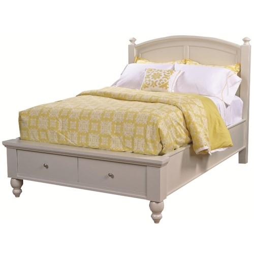 Aspenhome Cambridge King-Size Bed with Rounded Panel Headboard & Low-Profile Two-Drawer Storage Footboard