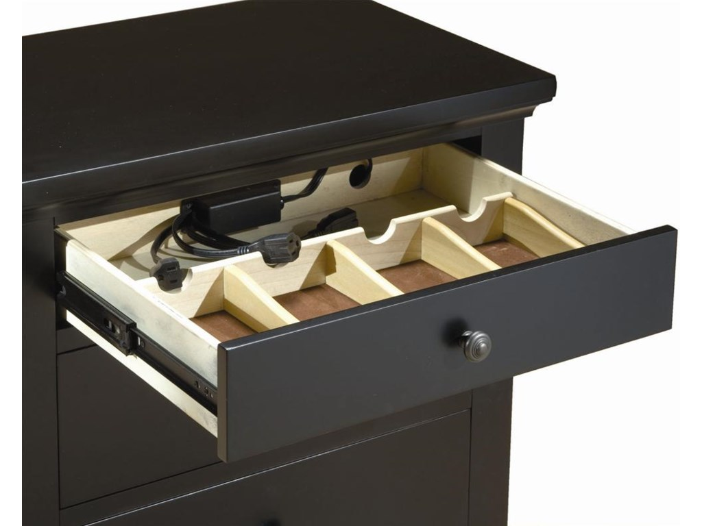 StoreCharge Top Drawer with AC Connections for Charging Cell Phone and Other Items