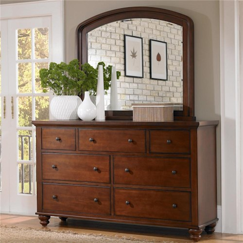 Aspenhome Cambridge 7-Drawer Double Dresser & Mirror Combo