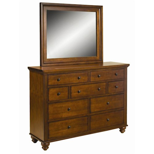 Aspenhome Cambridge 9-Drawer Chesser & Mirror Combo