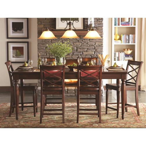 Aspenhome Cambridge 7 Piece Pub Table and Chair Set