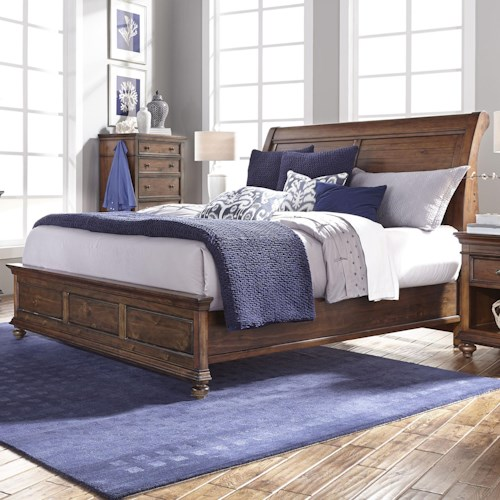 Aspenhome Camden Queen Sleigh Bed with Low Profile