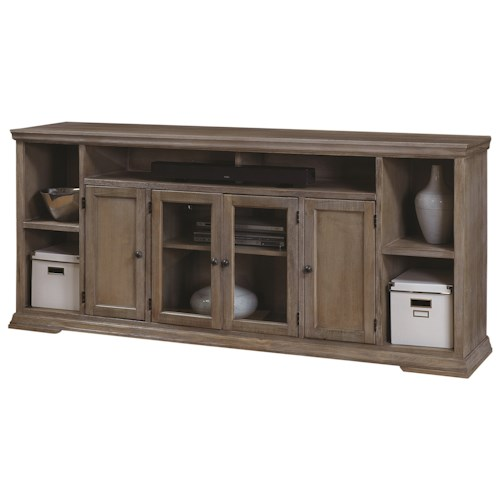 Aspenhome Canyon Creek 84-Inch TV Console with 4 Doors and Open Shelf Storage