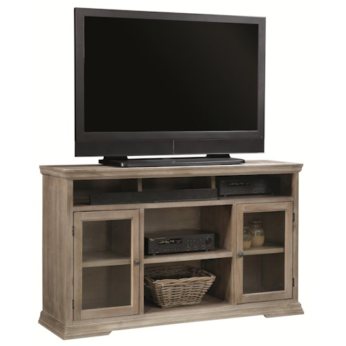 Morris Home Furnishings Calabasas 60-Inch TV Console with 2 Doors, Open Component Storage Area and Recessed Dividers for Sound Bar