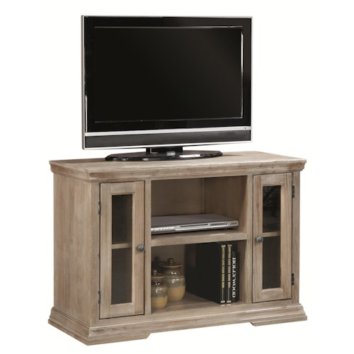 Morris Home Furnishings Calabasas 41-Inch TV Console with 2 Doors and Open Component Storage Area
