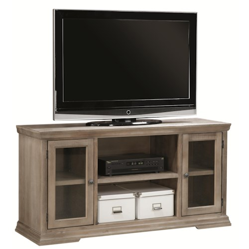Aspenhome Canyon Creek 55-Inch TV Console with 2 Doors and Open Component Storage Area