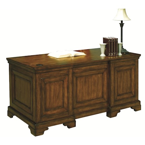 Morris Home Furnishings Centennial Executive Desk with Convertible Keyboard & Pencil Drawer