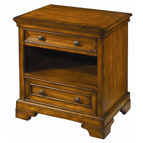 Aspenhome Centennial 2-Drawer, 1-Shelf Nightstand with 3-Way Touch Light