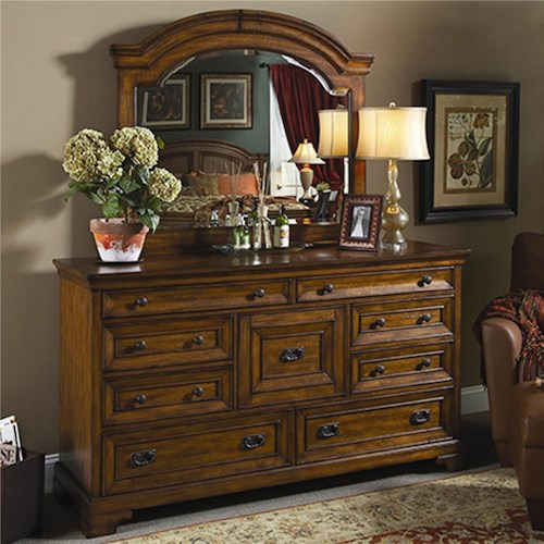 Morris Home Furnishings Centennial Master Dresser and Landscape Mirror Combination