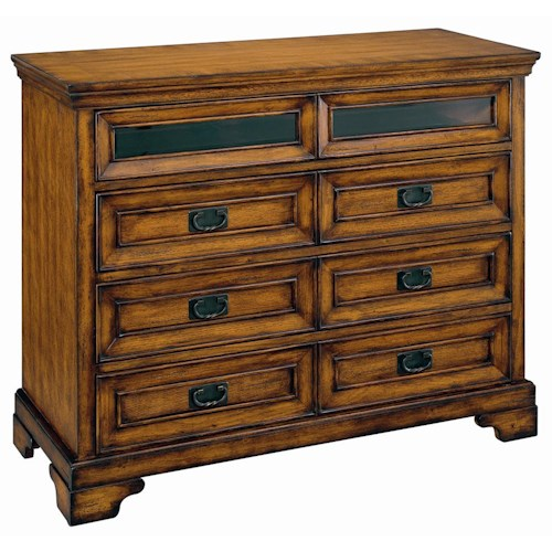 Aspenhome Centennial Entertainment Chest with Drop Front Component Storage Drawer and AC Outlets