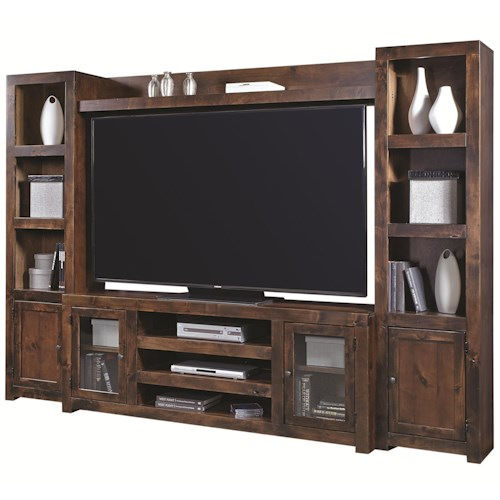 Morris Home Furnishings Contemporary Alder Entertainment Wall with 4 Doors and Open Shelving